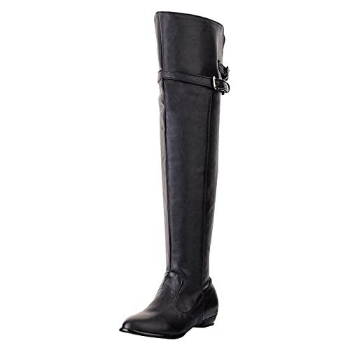 Wszbdoh Damen Overknee Stiefel Flach Boots Winter Langschaft Stiefel Mode Elegant Schlupfstiefel Mit Seitlichem ReißVerschluss Flache Stiefel Ritterstiefel Mit Schnallen(Schwarz,48)