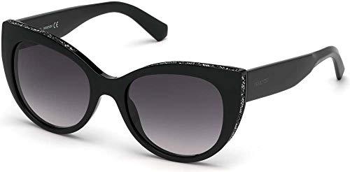 SWAROVSKI - Gafas de sol para mujer, montura negra brillante con lentes ahumadas degradadas