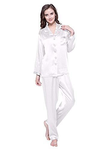 LilySilk Elegante Seide Nachtwäsche Schlafanzug Pyjama Damen Lang Hausanzug 16 Momme (M, Natur) Verpackung MEHRWEG