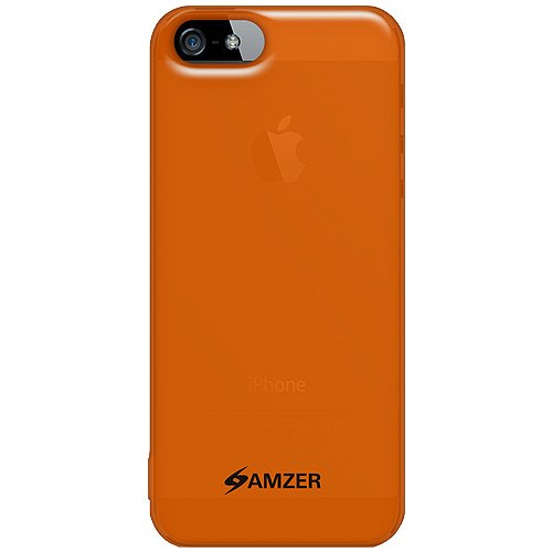 Amzer Soft Gel TPU Gloss Skin Fit Case Cover for Apple iPhone 5, iPhone 5S, iPhone SE (Fits All Carriers) - Translucent Orange