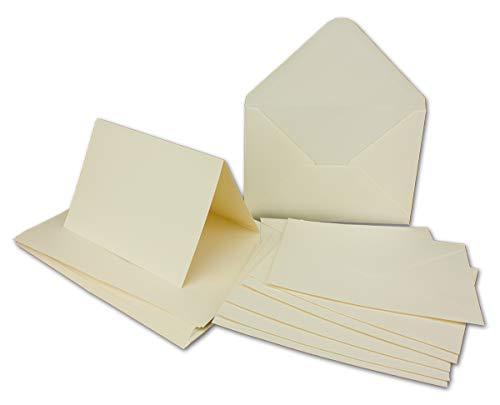50 x Doppelkarten – Umschlag - Set DIN A6/C6 - creme-weiß – Karte DIN A 6 -10,5 x 14,8 cm - 240 g/m² mit Brief-Umschlägen DIN C6-11,3 x 16,0 cm - 120 g/m² Nassklebung