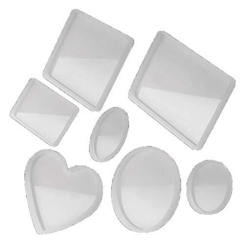 RJJX 7 Pack Molde de Resina de Silicona Grande para el álbum telefónico, decoración de Escritorio, Posavasos, decoración del hogar, Regalo, moldes de Resina epoxi de Bricolaje (Color : White)
