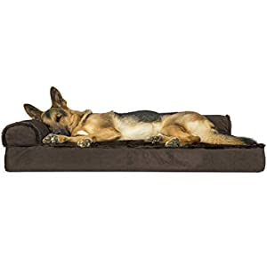 Furhaven Pet Dog Bed – Deluxe Orthopedic Plush Faux Fur and Velvet L Shaped Chaise Lounge Living Room Corner Couch Pet Bed with Removable Cover for Dogs and Cats, Sable Brown, Jumbo