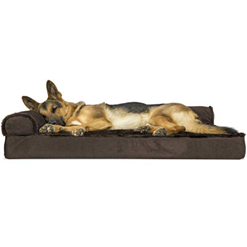 Furhaven Pet Dog Bed - Deluxe Orthopedic Plush Faux Fur and Velvet L Shaped Chaise Lounge Living Room Corner Couch Pet Bed with Removable Cover for Dogs and Cats, Sable Brown, Jumbo