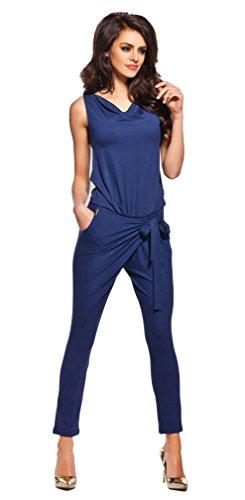 Lemoniade stylischer Jumpsuit ohne Ärmel mit elegantem Wasserfallkragen, Navy, Gr. L