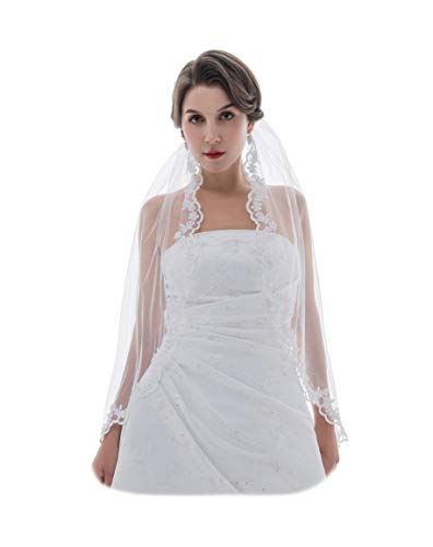 """1T 1 Tier Flower Scallop Embroided Lace Crystal Veil - Ivory Fingertip Length 36"""" V455"""