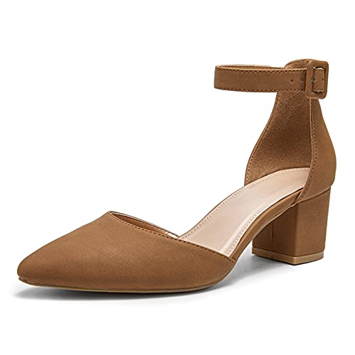 Women's Pointed Toe Ankle Strap D'Orsay Chunky Block Heel Pump