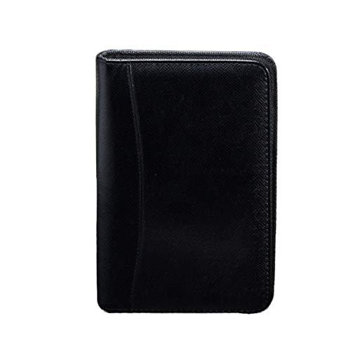 NUOBESTY Cuaderno de Negocios con Cierre de Cremallera Cuaderno de Notas con Cremallera A6 Cuaderno con Tarjetero para Calculadora para Viajes a Domicilio de Oficina Negro