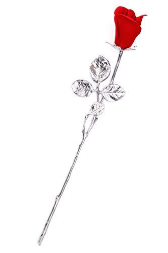 Bocciolo Di Rosa In Porcellana Su Stelo In Peltro Fatto A Mano In Italia Da Unionporcelain In Stile Capodimonte Con Il Marchio Napoleon