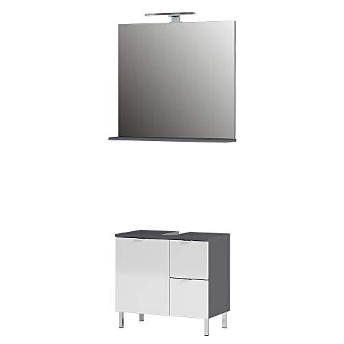 Germania Badezimmer-Set 8341-569 GW-Mauresa, bestehend aus Waschbeckenunterschrank und Spiegel, im Dekor Graphit/Weiß