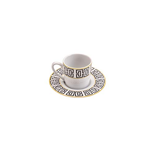 Cj 6 Xícaras P/café C/pires de Porcelana Egypt 90ml Lyor Preto e Branco