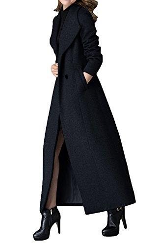 PLAER Damen Mode V-Ausschnitt Kaschmir Mantel Lange Trench Mantel wollen Mantel, - Color: Black, EU 40