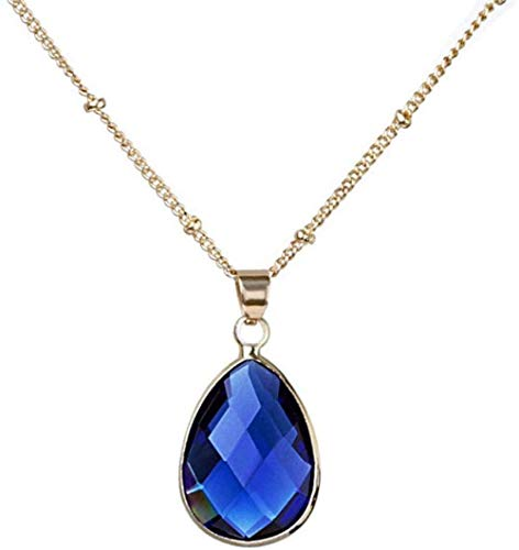 Ahuyongqing Co.,ltd Stone Pendant Necklaces for Women Natural Gem Teardrop Water Drops Navy Blue Crystal Pendant Necklaces with Golden Chain Ornaments