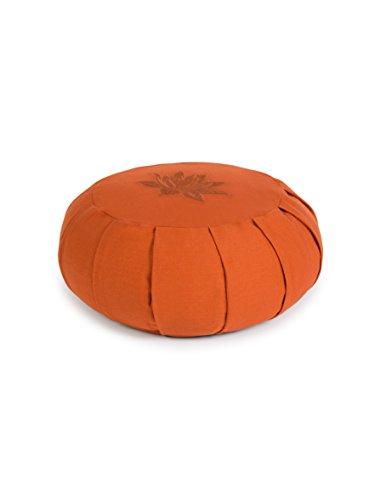 Yoga Studio Pleated Round Zafu Buckwheat Meditation Cushion - Lotus Leaf (Terracotta)
