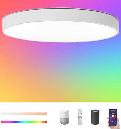 Plafón LED Lámpara de Techo WiFi Regulable, Ø40cm 36W 3200LM IP54 Luz de Techo, RGB + Blanco 2700-6500K, iluminación de techo de interior con Control Remoto y APP, Compatible Alexa y Google Assistant