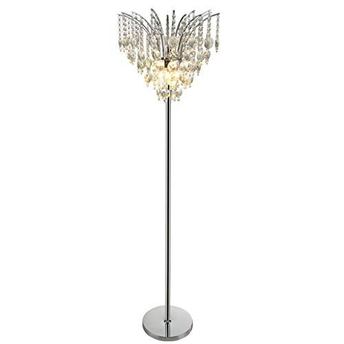 Luxus Kristall Stehlampen, Moderne LED-Hardware Chrome Vertikale Stehlampe Postmodern Schlafzimmer Wohnzimmer Dekoration Boden Schreibtisch Licht Nordic Sofa Beleuchtung Bodenleuchten, 3-Farben-Licht