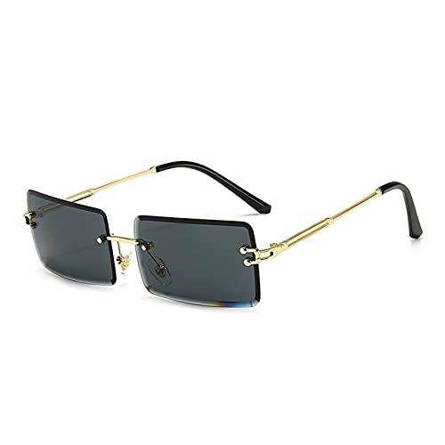 CHSDN Gafas de Sol de Borde de Corte sin Marco sin Marco de Estilo Nuevo Gafas de Sol de Gafas de Sol de Ladies Square Gafas de Sol,A2