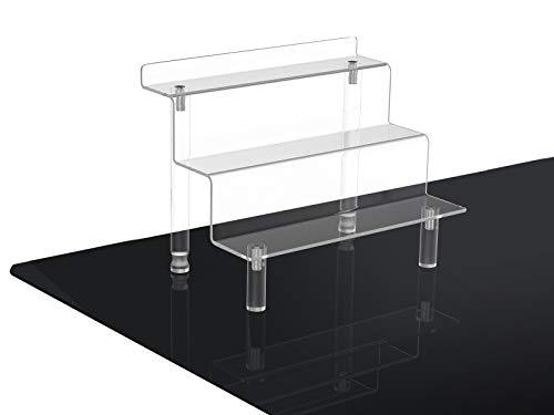 WINKINE Mesa de acrílico transparente con 3 niveles para figuras Amiibo Funko POP, especias, postres, escritorio y armario organizador para cosméticos y manualidades (1 pieza pequeña)
