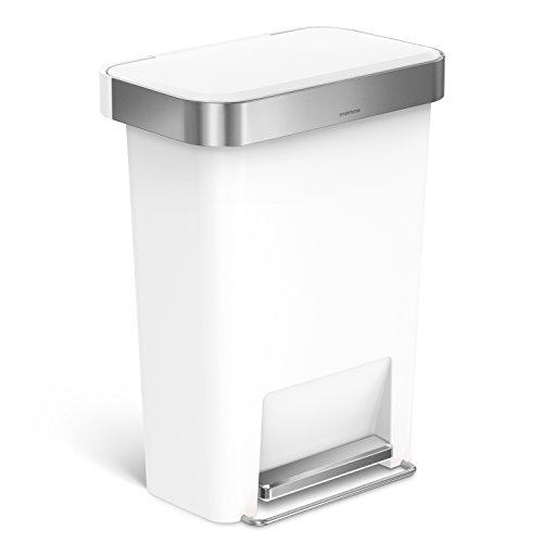 simplehuman 45 Liter / 11.9 Gallon Rectangular Step Can with Liner Pocket, White Plastic