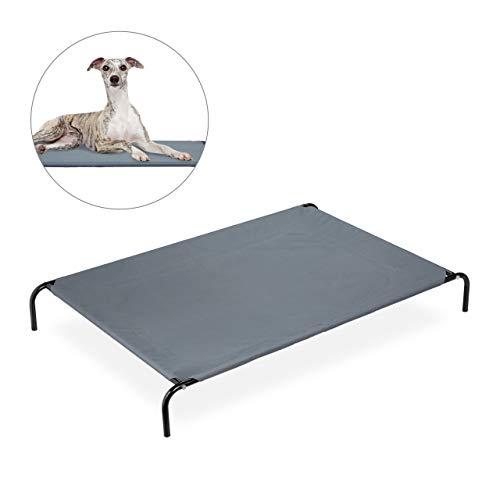 Relaxdays Hundefeldbett, für große Hunde, Garten Sonnenliege, Outdoor Hundebett mit Metallgestell, BxT 118 x 76 cm, grau, XL