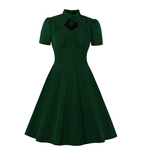 Wellwits Vestido vintage de los años 40 para mujer con cuello alto y corte de diamante - verde - 12 Más