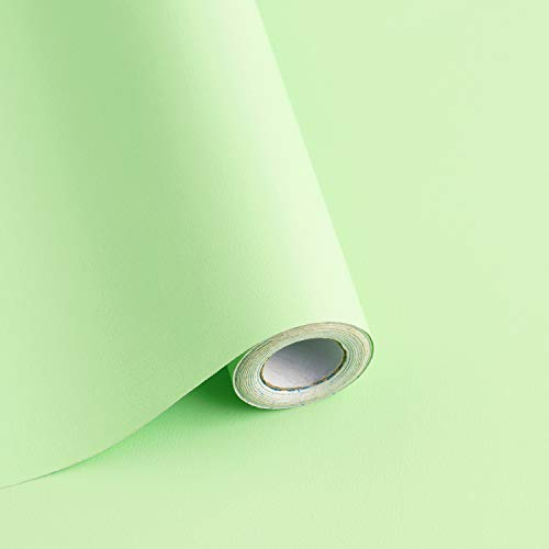 118'x17.7' Light Green Wallpaper Solid Color Peel and Stick Wallpaper Green Contact Paper Solid Color Self-Adhesive Removable Wallpaper for Wall Furniture Cabinet Covering Vinyl Rolls
