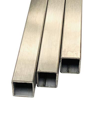Vierkantrohr/Quadratrohr/Edelstahl/geschliffen Korn240 / WST 1.4301 / V2A (20x20x2mm, Länge: 1000mm)