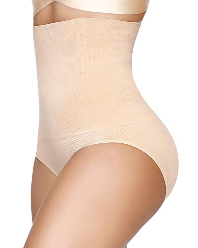 SIMIYA Women's Underwear Shapewear High-Waist Tummy Control Knickers Slimming Seamless Waist Shaper (Beige, M/L)