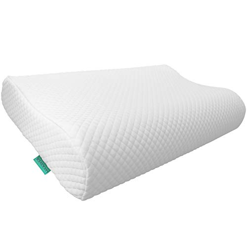 LUCKSVER Cervical Memory Foam Pillow,Contour Ergonomic Pillows for Neck and Shoulder Pain,Back Stomach Side Sleepers Standard Size with Washable Zippered Soft Pillowcase
