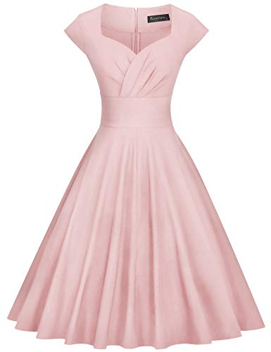 GownTown Womens Dresses Party Dresses 1950s Vintage Dresses Swing Stretchy Dresses, Pink, XX-Large