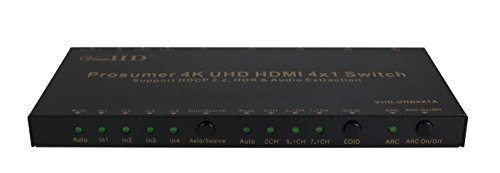 ViewHD Prosumer 4K UHD 18Gbps HDMI 4x1 Switch Support HDMI v2.0   HDCP 2.2   HDR & Dolby Vision   ARC   Audio Extraction: Optical Audio Output   RS232   Model: VHD-UHD4X1A