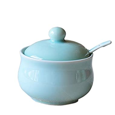 Ceramic Story Celadon Porcelain Sugar Bowl with Lid and Sugar Spoon 9.5x8.5 cm (Blue)