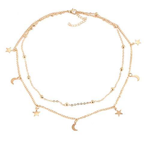 Aiming Mujeres Luna Estrellas Capas Dobles del Collar de señora Girl aleación Cuello Colgante Gargantilla de joyería de la Cadena de clavícula