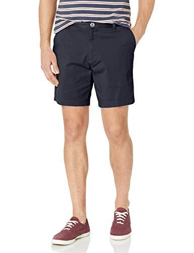 Nautica Men's Cotton Twill Flat Front Stretch Chino Short, True Navy, 34W