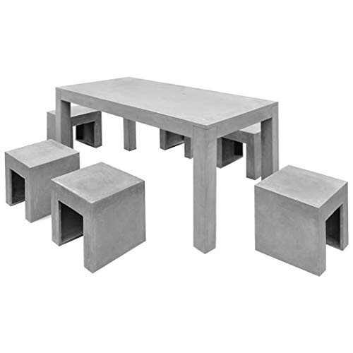 vidaXL 7-TLG. Beton Gartenmöbel Sitzgruppe Essgruppe Gartengarnitur Tisch Hocker