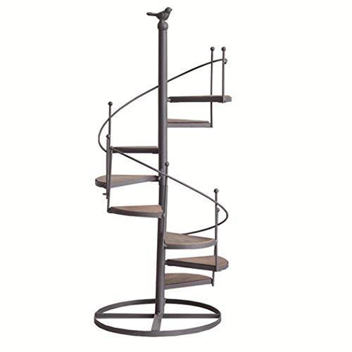 Escalera de caracol de múltiples capas en forma de flor de hierro forjado Escalera de 8 pisos con balcón, sala de estar, maceta de interior, estante para macetas, 56 * 23 cm