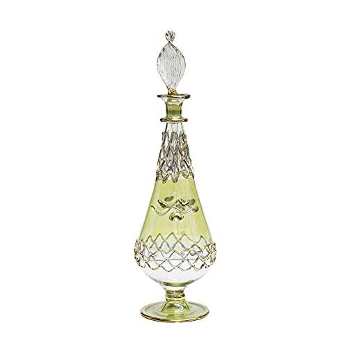 Perfumero Egipcio de Cristal soplado Hecho a Mano en Egipto Jarrón Dorado y Verde 19 cm