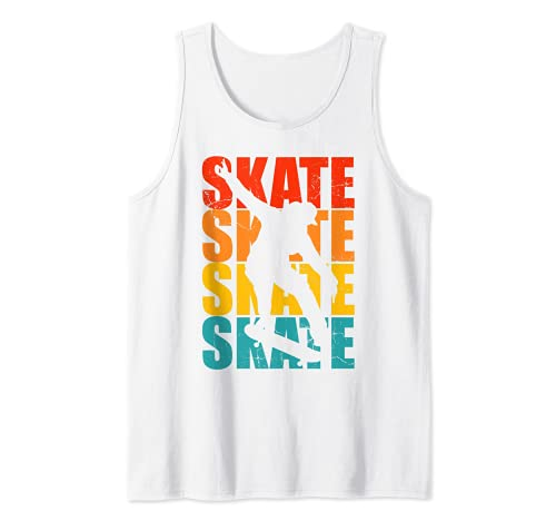 Patineta Skateboarding Regalo retro para skater Camiseta sin Mangas
