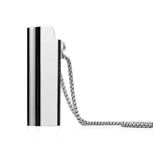 babysbreath17 Silber Gold Legierung leichte Fall Hiphop Halskette Lighter Shell hängende Metallhalsketten Langer Hals Silber- 70cm