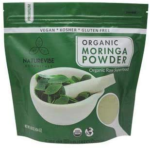 Organic Premium Moringa Powder by Naturevibe Botanicals (1 Lb), Non GMO and Gluten Free | Multi-Vitamin | Great in Drinks and Smoothies | Supports Weight Loss. [Packaging May Vary]