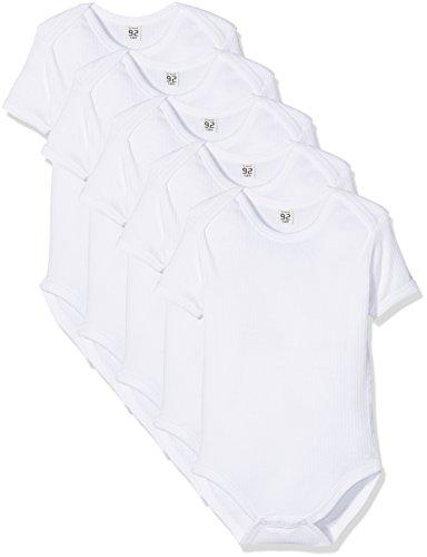 Care Unisex Baby – body z krótkim rękawem z bawełny ekologicznej, 5 sztuk, białe (100), 92