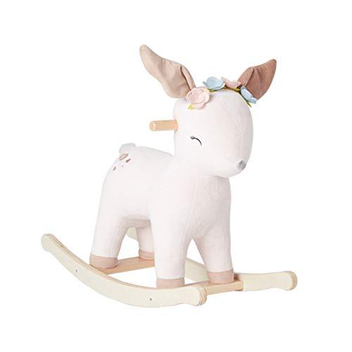 GOUO@ Style Nordique Fawn Cheval À Bascule Enfants en Peluche Chaise Berçante Bébé en Bois Massif Animal Rocker Jouet Cadeau pour Enfants pour 0-3 Ans