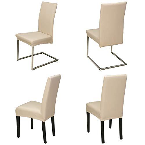 Staboos Stuhlhussen 4er Set aus 96% Baumwolle - Bi-elastische Stretch Stuhlüberzüge - Universal Stuhlbezug - Stuhlabdeckung waschbar & bügelfrei, Beige