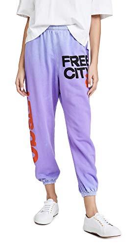 FREECITY Women's Lets Go Free City Super Vintage Sweatpants, Lavender Love Sunfade, Purple, Graphic, Large