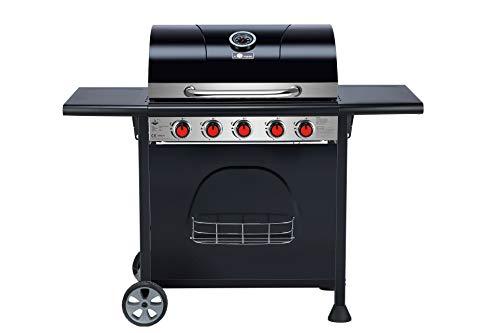 El Fuego Gasgrill SAN Diego 5 Brenner Grill Smoker Grillwagen BBQ, Warmhalterost und Brenner aus Edelstahl, auf Rädern AY 589