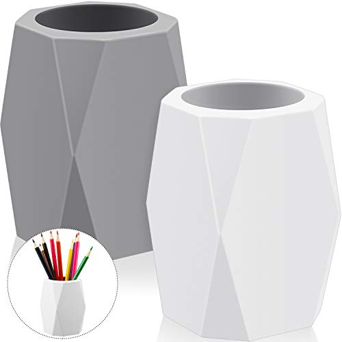 2 Pieces Silicone Pencil Holder Silicone Pen Cups Geometric Pencil Holder Creative Design Silicone Pencil Holder for Office White and Grey