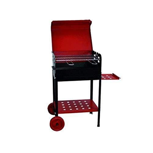 Barbecue à charbon 'étoile' en fer verni. Avec Roues et plateau latéral. Grille acier avec poignées strip-tease.
