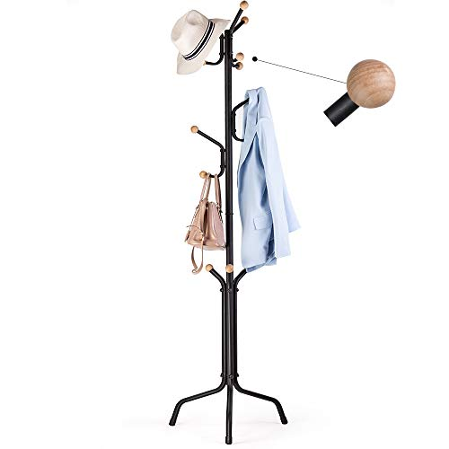 Eckonaver Kapstok, hoogte 172 cm, stabiel metaal, staande garderobe 12 haken, kledingrek voor in de hal, woonkamer, slaapkamer, kantoor