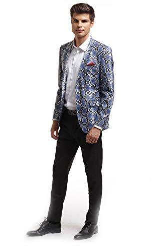 Elie Balleh Navy Plaid Men's Blazers Sports Coat Jacket
