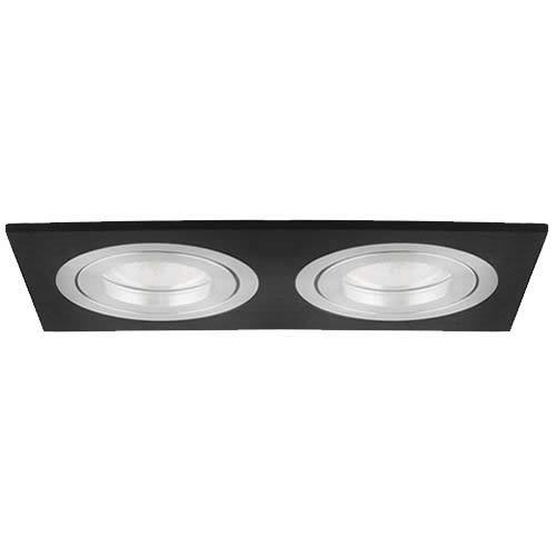 Doppel Decken Einbau Spot Silber Schwraz Weiß Strahler Leuchte Lampe Eckig (HDC-DTL2-50-BL = Schwarz Einbaustrahler)